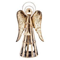 Anděl Patin svícen, zlatý, 23x15x40 cm, kov