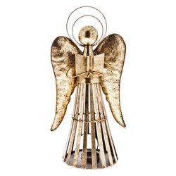 Anděl Patin svícen, zlatý, 19x12x35 cm, kov