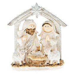 Betlém Josef a Marie, dvě ovečky, 11,5 cm, polyres