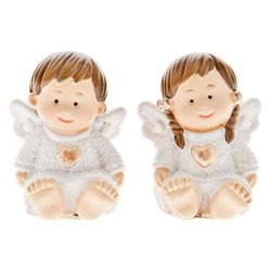 Sedící andílci bílí,holčička a chlapeček,2 dr.,vel