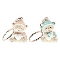 Klíčenka sedící medvídek, růžová čepice, 2,2x3,5 c