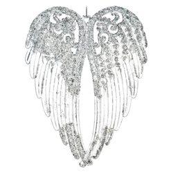 Ozdoba akrylová křídla, stříbrná, 14cm