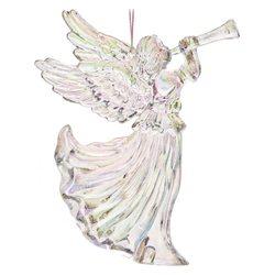 Ozdoba akryl anděl s trumpetou, 3 duhové barvy, 10