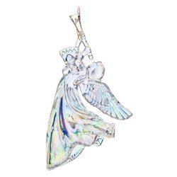 Ozdoba akryl anděl s trumpetou, křídla dolů, 11cm