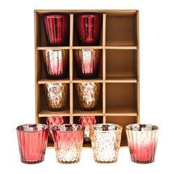 Sklenky na svíčku červeno-zlaté, set 12 ks, 7,5 cm