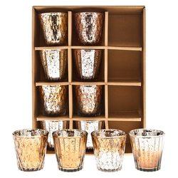 Sklenky na svíčku zlatá+šampáň, set 12ks, 7,5 cm