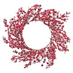 Umělý červený věnec s bobulemi, 47cm