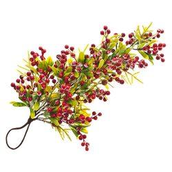 Umělá zelená větev s červenými bobulemi hustá, záv