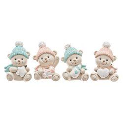 Magnet medvídek šedý, růžová a modrá čepice, 2dr.,