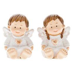 Sedící andílci bílí, holčička a chlapeče,2dr.,malí