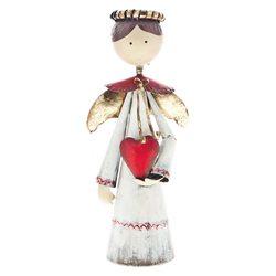 Kovový anděl bílý se svatozáří a červeným srdcem