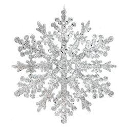 Ozdoba Akryl vločka hustá stříbrná, 0,5x13x13 cm