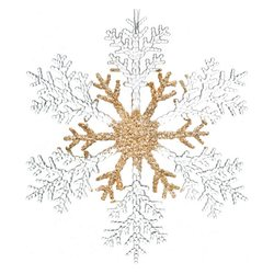 Ozdoba Akryl vločka zlato-čirá, 0,5x26x26 cm, plas