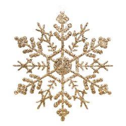 Ozdoba Akryl vločka zlatá, set 4 ks, 0,5x13x13 cm