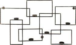 Asymetrický černý rám na svíčky,dekor.na zeď,92x53