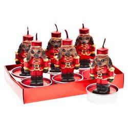 Svíčka čaj. pes červený s čepicí, 6ks, 3x3x7 cm, v
