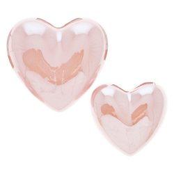 Dekorace srdíčko oblé perleťově růžové, 6 cm, M