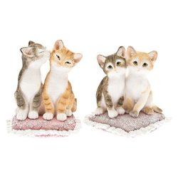 Dvě kočky na polštáři 2dr, 9x9x11cm, polyresin