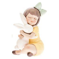 Holčička s králíčkem v náručí, 18x4x18cm, polyresi