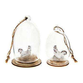 Kohoutek ve skle, malý, 5x5x8 cm, polyresin, sklo