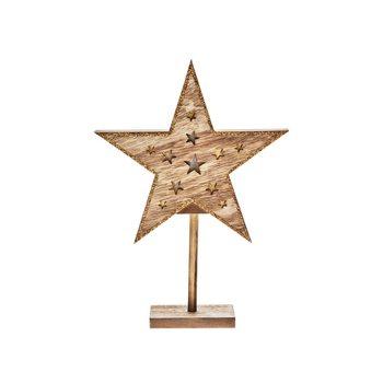 Hvězda svítící na baterie 2xAA, 20x5x27 cm, dřevo