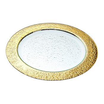 Tác se zlatým okrajem, 33x33x2 cm, sklo
