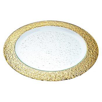 Tác se zlatým okrajem, 37x37x2 cm, sklo