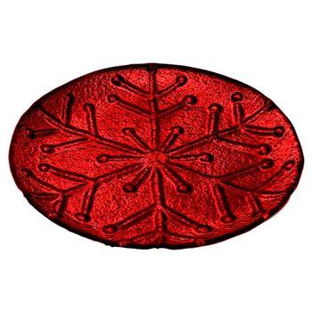 Tác s motivem vločky červený, 20x20x2.5 cm, sklo