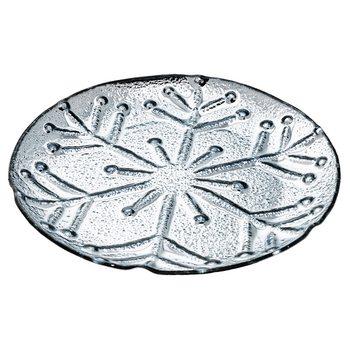 Tác s motivem vločky, stříbrná, 31x31x3,5 cm, sklo