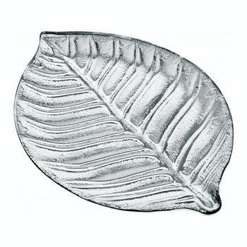 Tác List stříbrný, 37x26x2 cm, sklo