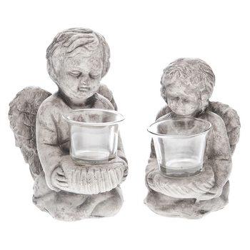 Svícen Anděl, 12x15x19 cm, keramika jako beton