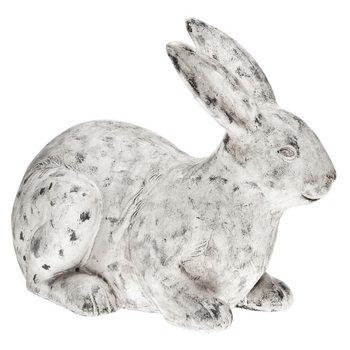 Zajíc ležící, 21x43x33 cm s patinou, keramika