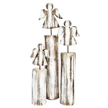 Dřevěný anděl na podstavci, 53 cm, dřevo