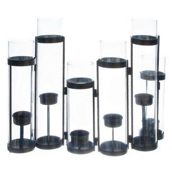 Svícen Olevo, 47x7x30 cm, kov, sklo