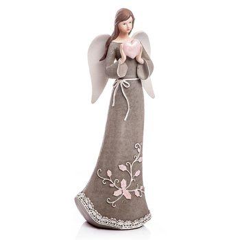 Anděl Roselo, velký šedý, 32x13x9 cm, polyresin