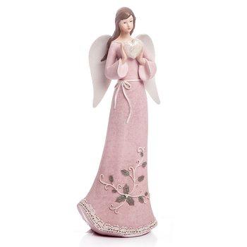 Anděl Roselo, velký růžový, 32x13x9 cm, polyresin