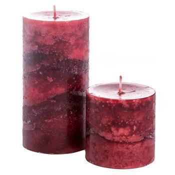 Svíčka válec červený, vůně skořice, 7x7x14 cm, vos