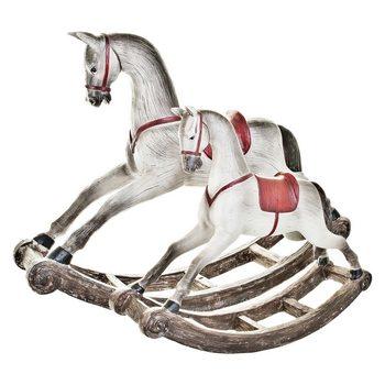 Houpací kůň s červeným sedlem, 9x53x36 cm, polyres
