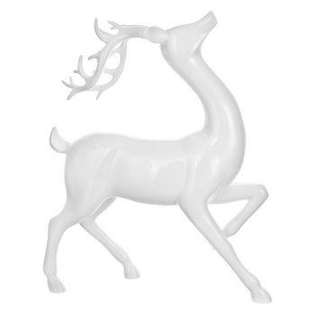 Jelen v poklusu bílý, 9x30x38 cm, polyresin