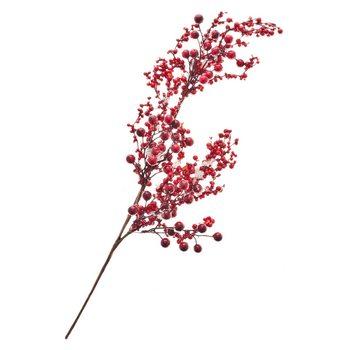 Umělá červená větvička s bobulemi, 60cm