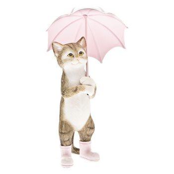 Kocour v botách držící deštník, 6x6x14cm, polyresi