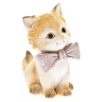 Koťátko s růžovou mašlí sedící, 8x7x11cm, polyresi