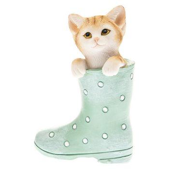 Koťátko v zelené holínce, 7x4x10cm, polyresin