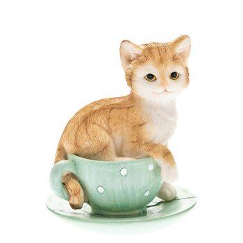 Kotě v zeleném šálku, 7x7x9cm, polyresin